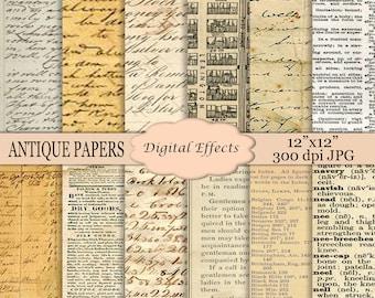 """ANTIQUE Paper Digital Paper Pack 12x12"""" Digital Scrapbook Paper,Old Paper,Old Book Pages,Old Writing Grunge-PLEASE READ Ad Detail Below!"""