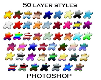 50 Glossy Photoshop Layer Styles, PS Styles, Photoshop Style Package, Photoshop Layer Package, Photoshop ASL File Set, Photoshop Elements