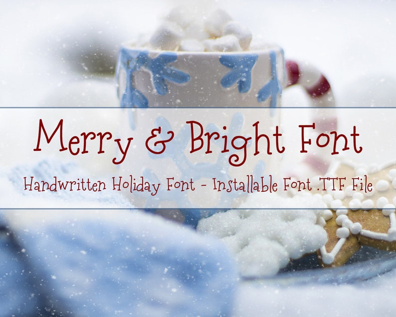 Christmas Font, Merry & Bright Font, Christmas TTF, Installable True Type  Font File, Commercial Use, Holiday Font, Fun Kids Font, TTF File