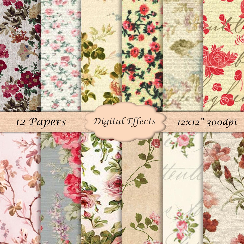 Vintage Floral Digital Paper 12x12 Scrapbook Paper Etsy