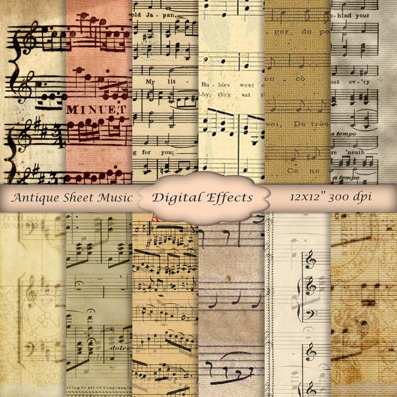 Antike Noten Digitale Papier 12 X 12 Scrapbook Papier Etsy