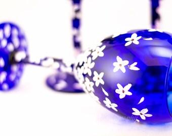 Wine Glasses - Cobalt Blue - Cherry Blossom Design - Hand Painted