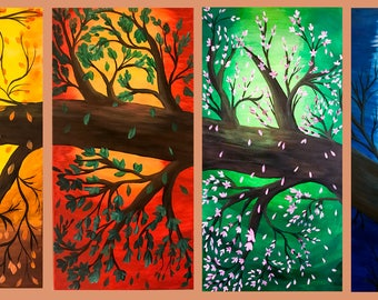 "Four Seasons Tree - 4 Panels (Each 24""x12""x1"") - Winter, Spring, Summer & Fall #Art #Acrylic #Canvas"