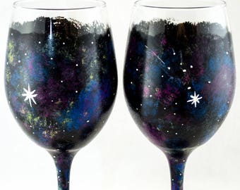 Wine Glasses - 20 oz - Each, Set of 2 or 4 - Cosmos Design - #Hand Painted