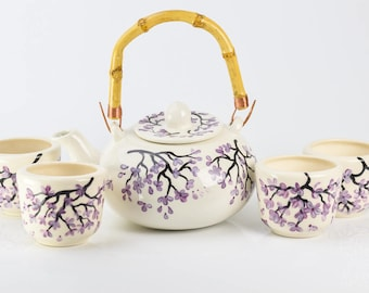 Teapot Set - Bamboo Handle - Purple Cherry Blossom Design - #Handpainted