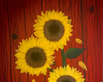 Sunflowers by the Old Red Barn
