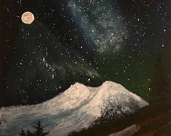 Full Moon with Milky Way over Mt. St. Helens, Washington State #Art #Acrylic #Canvas