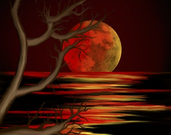 Blood Moon Rising - Digital Art