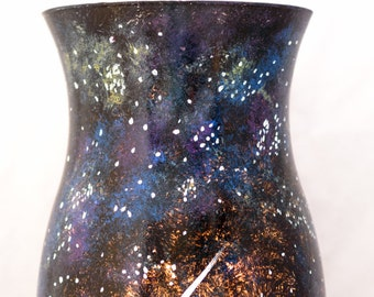Hurricane Candle Sleeve & Base - Cosmos Design - Hand Painted
