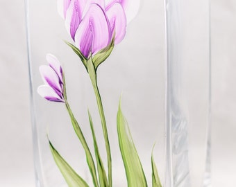 "Vase (9"") Crocus Design - Hand Painted"