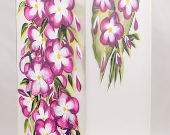Vase - 12 in Sq - Five Petal Flower Design - #Hand Painted