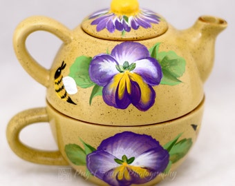 Teapot - One Cup Set - 3pcs - Pansy Design - #Hand Painted #Ceramic