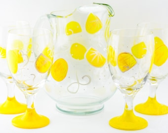 Pitcher and Glasses (4) Lemon Design - #Hand Painted