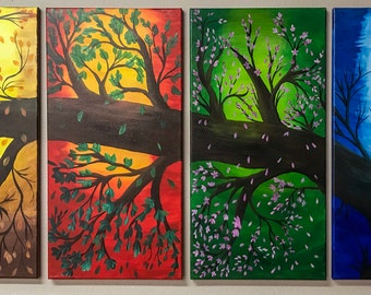 Four Seasons Tree - 4 Panels - Acrylic on Canvas