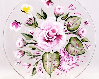 "Display Plate - 8""- Rose Design - Hand Painted"