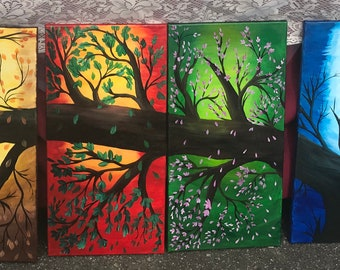 "Four Seasons Tree - 4 Prints (Each 24""x12""x.25"") - Winter, Spring, Summer & Fall #Art #Prints #artistoninstagram"