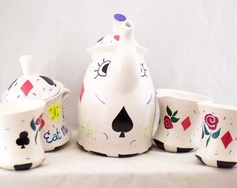 Tea Pot Set - Mad Hatter - Hand Painted