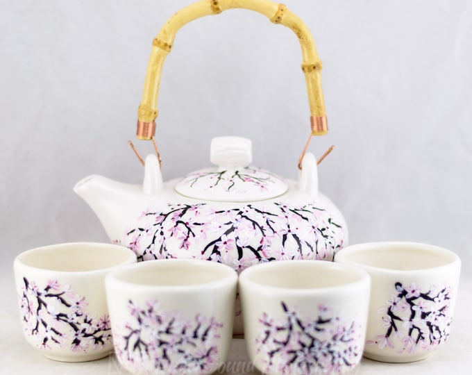 Featured listing image: Teapot Set (6) Porcelain  - Bamboo Handle - Cherry Blossom Design - #Handpainted