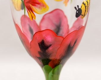 Drinking Glass - 16 oz - Each or Set of 2 or 4 -Poppy Design - 5 Colors - Hand Painted