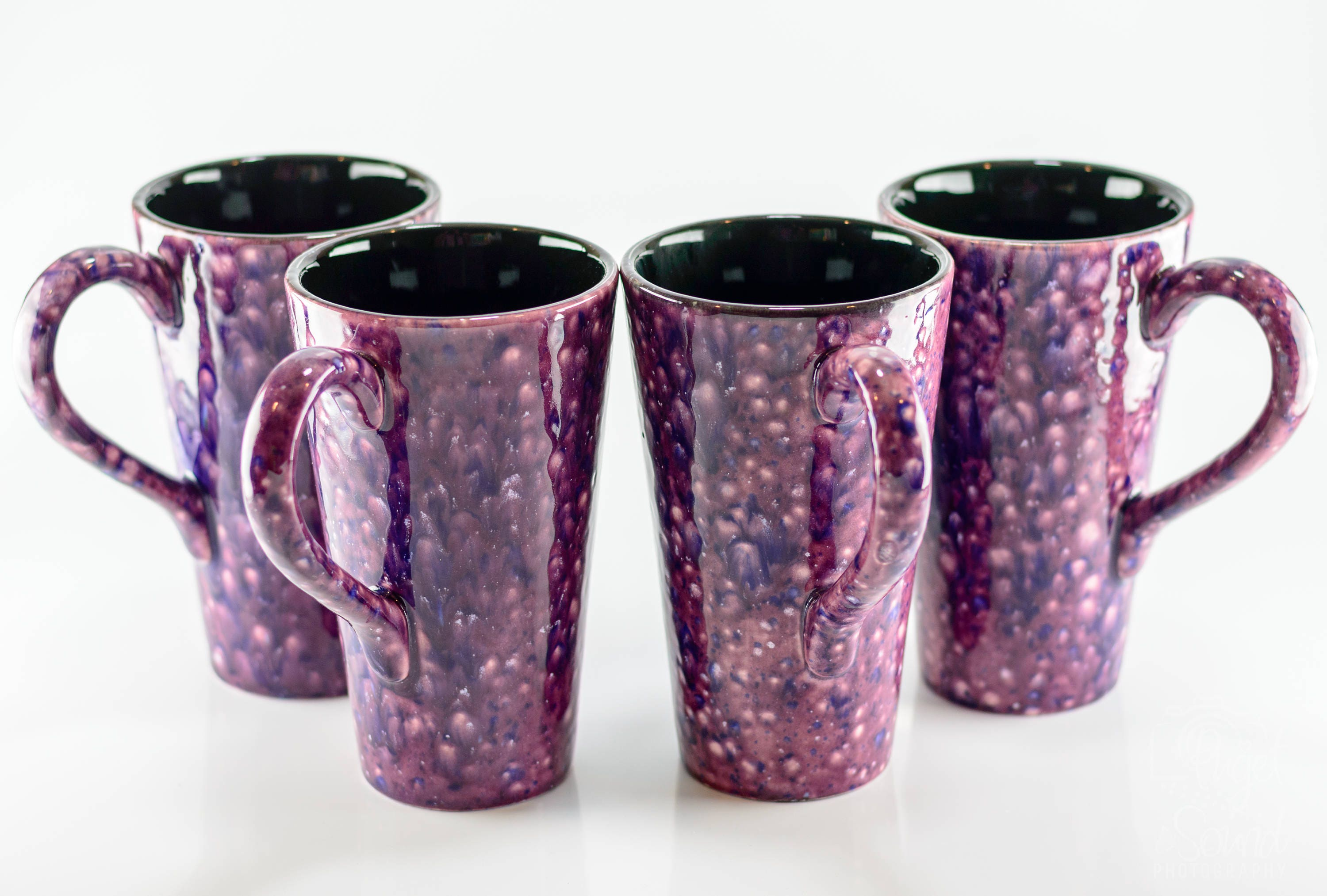 & Mugs - 16 oz - Purple Cosmos - Bursting Crystal Design - Hand Painted