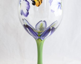 Wine Glasses -  20oz - Each or Set of 2 or 4 - Crocus Design - Hand Painted
