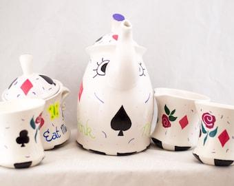 Tea Pot Set - Mad Hatter - Hand Painted