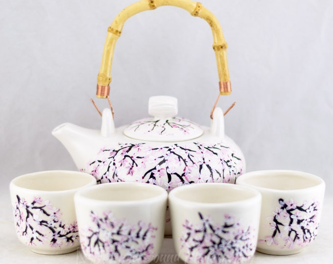 Featured listing image: Teapot Set (6) Porcelain  - Bamboo Handle - Cherry Blossom Design - Hand Painted
