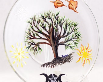 "Display Plate - 8""- Four Seasons & Tree of Life Design - Hand Painted"