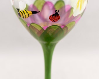 Wine Glasses - 20 oz - Each, Set of 2 or 4 - Multiple Colors Available - Lotus Design - Hand Painted