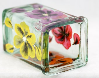 Candle Holder - Upcycled Antique Glass - Red, Orng, Purp & Yel - Poppy Design - Hand Painted