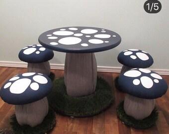 29 Bar Stool Stool Wooden Desk Highchair Seating Mushroom Bar Stool Wooden Bar Stool Hand Painted /& Vinyl High Counter Bar