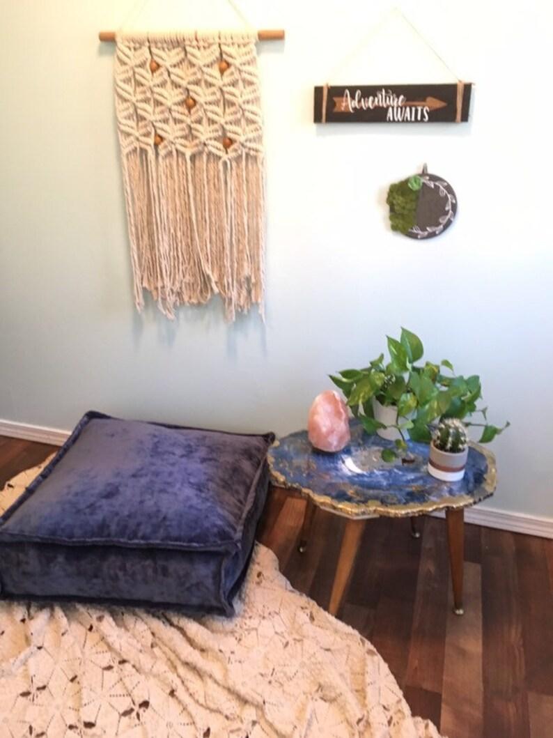 Velvet Floor Pillow Velvet In Gem Tone Agate Navy Blue Floor Cushion Bohemian Eclectic Floor Throw Pillow Free Shipping