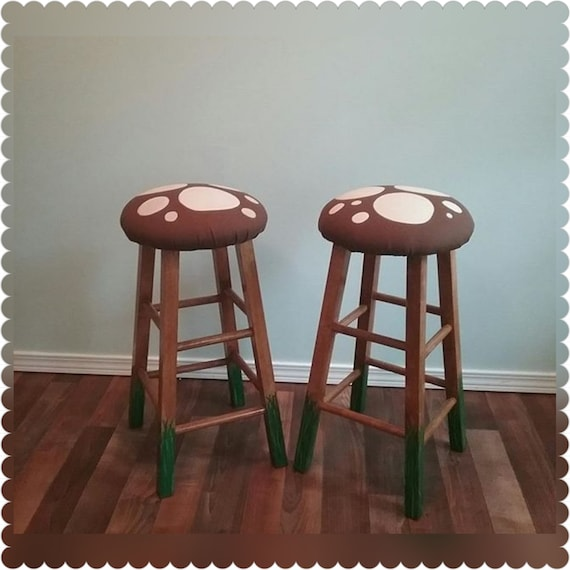 Fine 29 Bar Stool Pair Of 2 Wooden Bar Stools Wooden Desk Highchair Stool Seating Mushroom Bar Stool Hand Painted Vinyl Seat Backless Caraccident5 Cool Chair Designs And Ideas Caraccident5Info