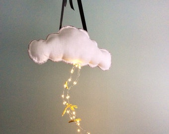 Cloud Mobile, Rain Cloud, Linen Cloud Mobile, Cloud Cushion, Rain Cloud Cloud Cushions - Remote Control LED Lights