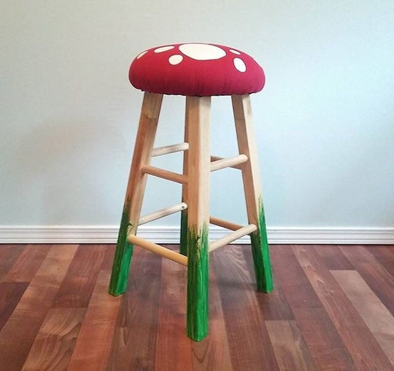 Groovy 29 Bar Stool Pair Of 2 Wooden Bar Stools Wooden Desk Highchair Stool Seating Mushroom Bar Stool Hand Painted Vinyl Seat Backless Caraccident5 Cool Chair Designs And Ideas Caraccident5Info