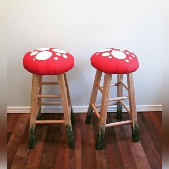 Amazing 24 Pair Of Bar Stools Mushrooms Hand Painted Low Bar Counter Height Stools Upholstered Seats Whimsy Alice In Wonderland Machost Co Dining Chair Design Ideas Machostcouk