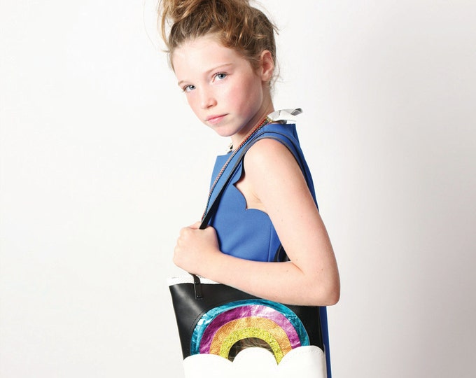 Leather rainbow tote