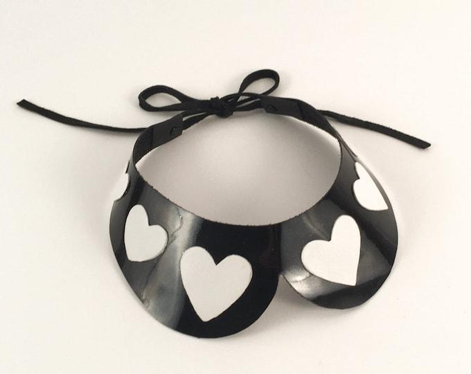 Patent leather bib collar