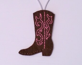 Cowboy Boot Felt Christmas Handmade Ornament