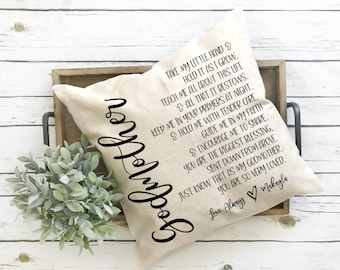 Godmother Pillow Gift for Godparents Custom Godmother Pillow Cover Accent Pillow Baptism Gift Personalized Pillow Toss Pillow Decor PCP43