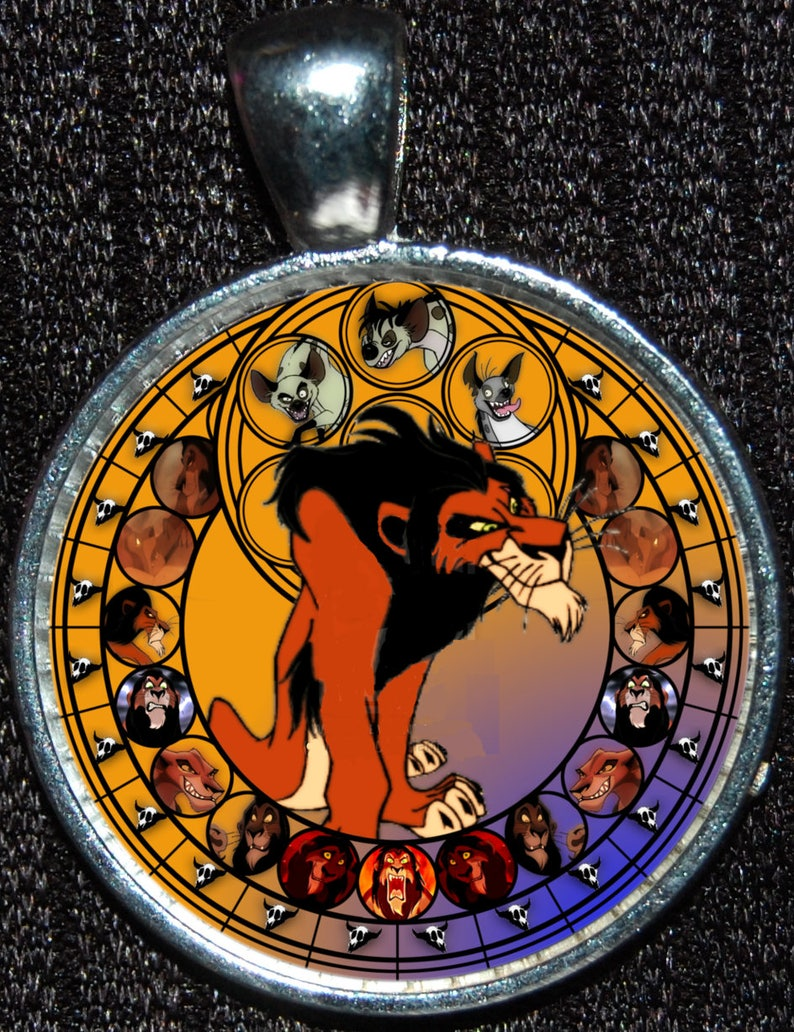 Scar Villain Lion King Round Stained Glass Style Silver Disney Etsy