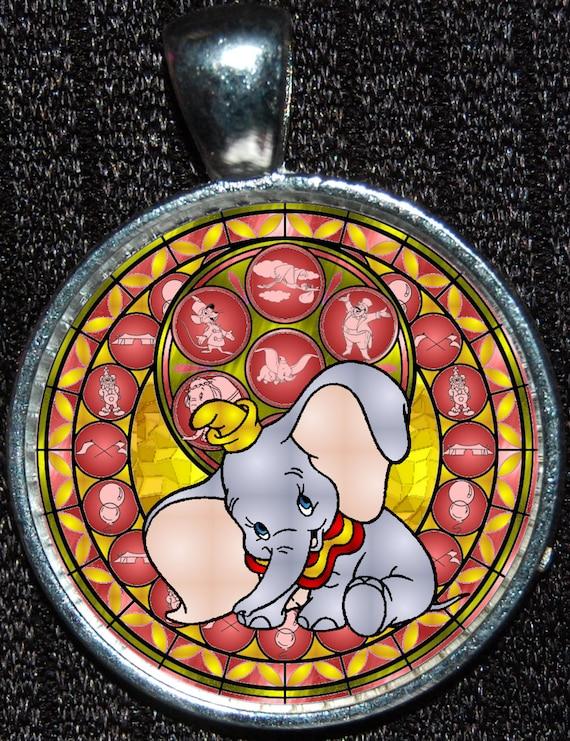Dumbo Elefant Runde Glasmalerei Stil Silber Disney Anhänger Halskette Schmuck