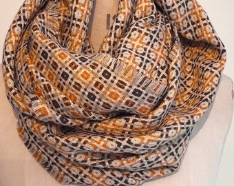 Checkered Beige Winter Infinity Scarf