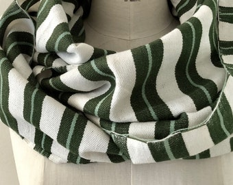 Olive Green & White Striped Winter Infinity Scarf