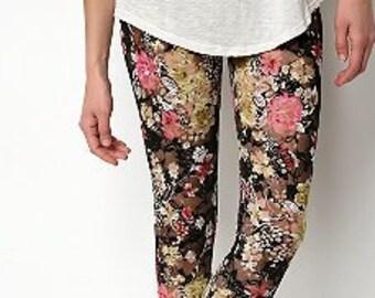 Floral Print Lace leggings for Women