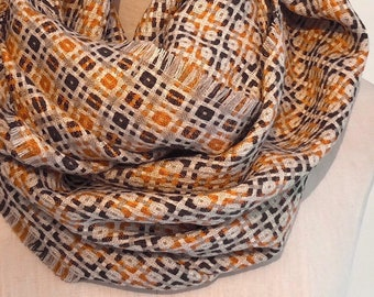 Checkered Wool Infinity Scarf