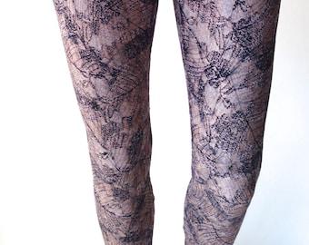 Brown Lace Printed Leggings