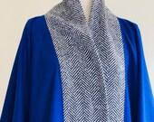 Blue Cashmere Poncho Blue Cashmere Cape Unisex Herringbone Electric Blue Cashmere Wool Winter poncho Winter Plus Size Gift Him Made UK