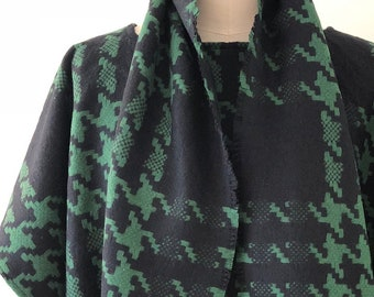 Emerald Green Houndstooth Check Wool Poncho