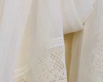 Oversized White Chiffon Lace Wrap